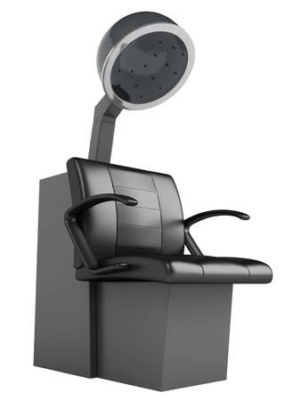 Hair dryer chair isolated on white background photo