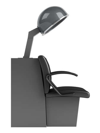 facial steamer: Hair dryer chair isolated on white background Stock Photo