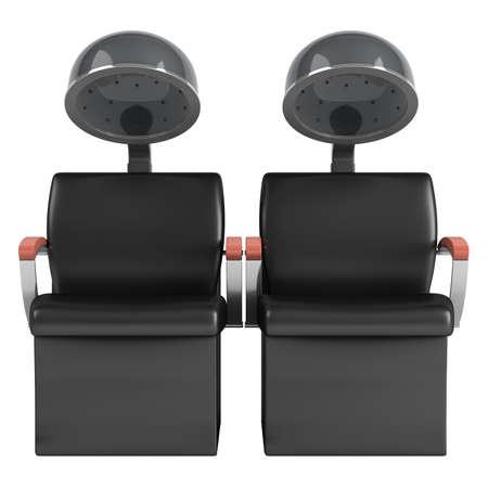 secador de pelo: Doble sillas de secador de pelo aisladas sobre fondo blanco