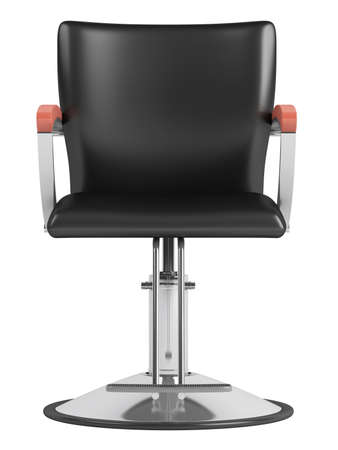 barber shave: Black hairdressing salon chair isolated on white background