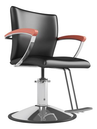hair cut: Black hairdressing salon chair isolated on white background