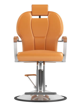 leather armchair: Orange hairdressing salon chair isolated on white background
