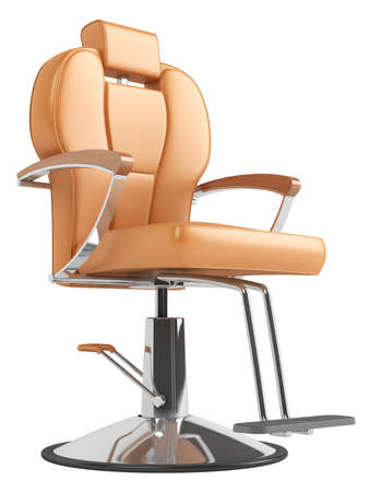 Orange hairdressing salon chair isolated on white background photo