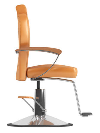 leather chair: Orange hairdressing salon chair isolated on white background