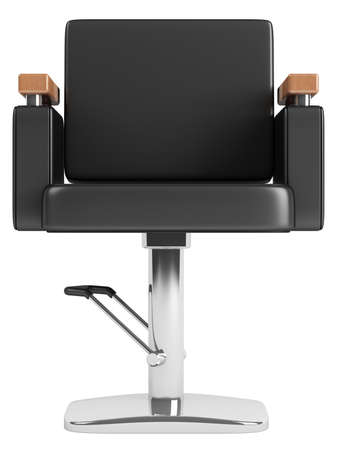 salon background: Black hairdressing salon chair isolated on white background