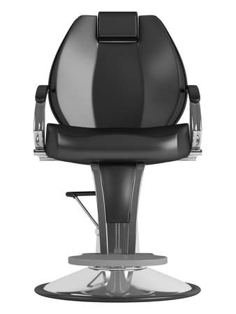 leather chair: Black hairdressing salon chair isolated on white background