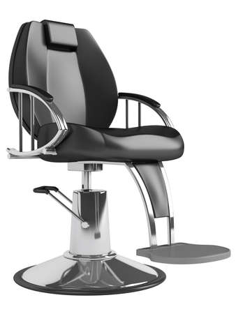furniture detail: Black hairdressing salon chair isolated on white background