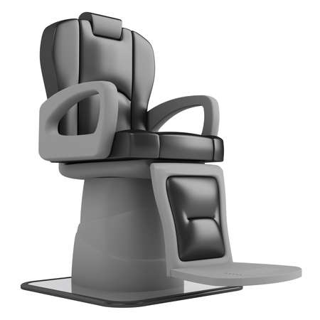 styling: Black hairdressing salon chair isolated on white background