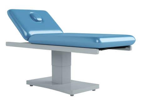 massage table: Blue massage table isolated on white background Stock Photo