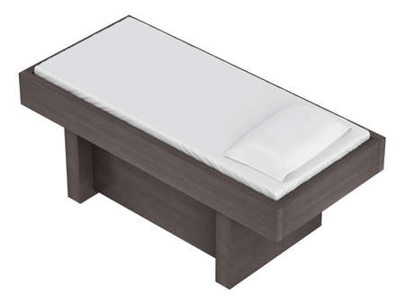 massage table: Wood massage table isolated on white background