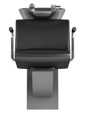 Black hair wash chair isolated on white background photo