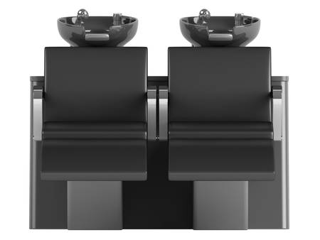 double tap: Black hair wash double seat chair isolated on white background Stock Photo