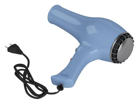 drier: Blue hair dryer isolated on white background