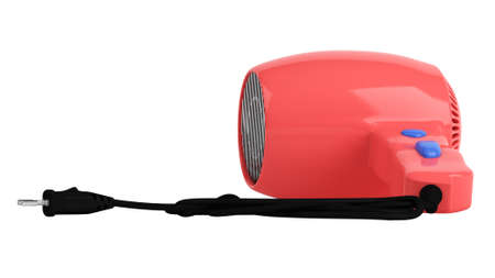Red hair dryer isolated on white background photo