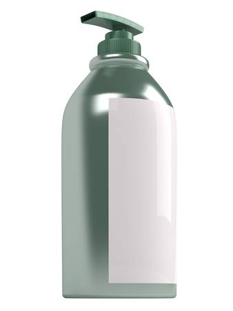 liquid soap: Green shampoo bottle isolated on white background