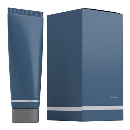 cosmetic bottle: Dark blue tube isolated on white background