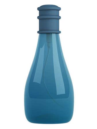 liquid soap: Blue bottle parfume isolated on white background Stock Photo