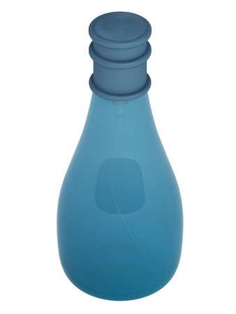 perfume bottle: Blue bottle parfume isolated on white background Stock Photo