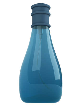 parfume: Blue bottle parfume isolated on white background Stock Photo