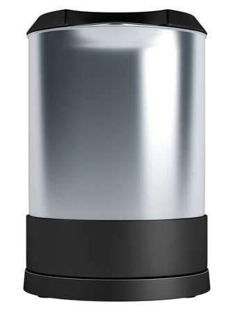 Metallic modern electric teapot isolated on white background photo