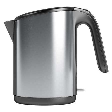 Black and white kettle isolated on white background photo
