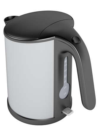 Black and white kettle isolated on white background photo