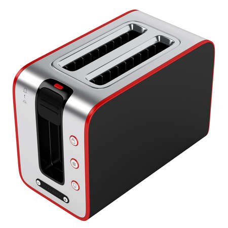 Toaster with red contour isolated on white background photo