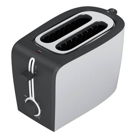 Black and white toaster isolated on white background photo