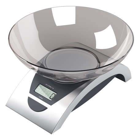 kitchen scale: Food scales isolated on white background Stock Photo