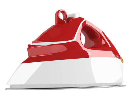 flat iron: Red flat iron isolated on white background Stock Photo