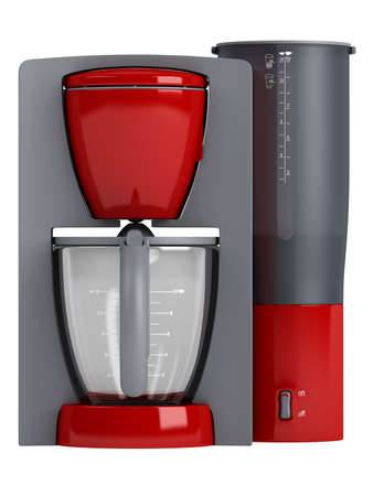 with coffee maker: Red coffee maker isolated on white background Stock Photo