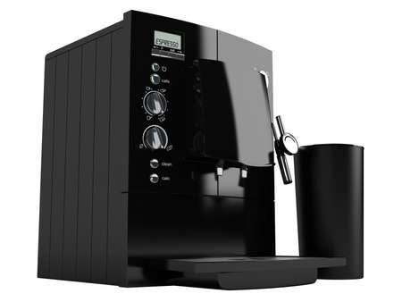 Black coffee machine isolated on white background photo