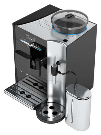 espresso machine: Black coffee machine isolated on white background Stock Photo