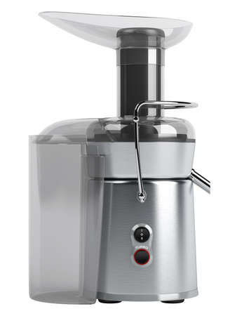 juicer: Metallic juice extractor isolated on white background