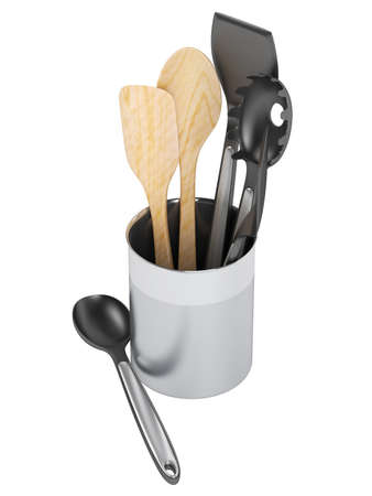 Kitchen utensil set isolated on white background photo