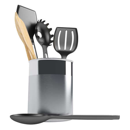 drainer: Kitchen utensil set isolated on white background Stock Photo