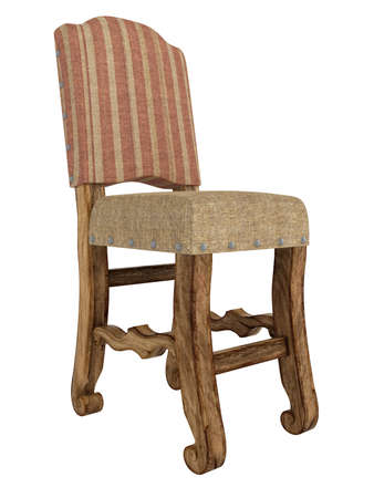 Antique wooden chair isolated on white background photo