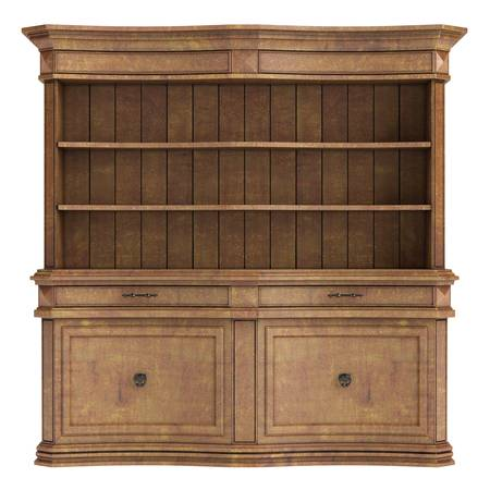 Antique wooden cabinet isolated on white background photo