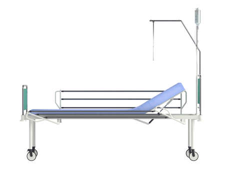 adjusting: Mobile hospital bed isolated on white background