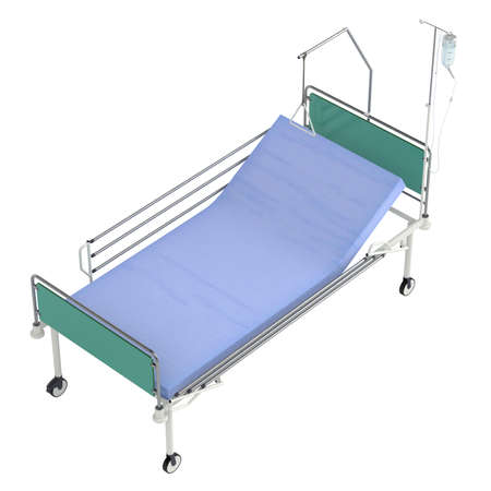 intensive care: Mobile hospital bed isolated on white background