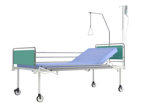gurney: Mobile hospital bed isolated on white background