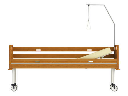 movable: Wooden mobile hospital bed isolated on white background