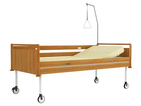 padded: Wooden mobile hospital bed isolated on white background