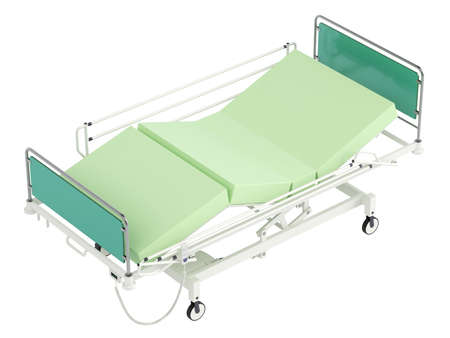 recovery bed: Mobile hospital bed isolated on white background