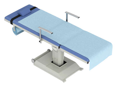 Operating table isolated on white background photo