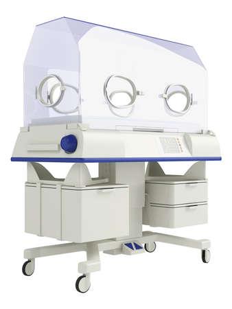 Infant incubator isolated on white background photo