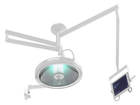 surgical operation: Operation lamp isolated on white background