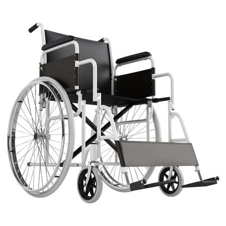 hospital room: Wheel chair isolated on white background Stock Photo