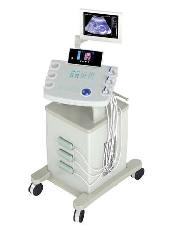 ultrasonic: Ultrasound scanner for ultrasonography or sonic imaging based on tissue density as used in prenatal scanning of a foetus, isolated on a white background