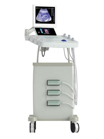 readout: Ultrasound scanner for ultrasonography or sonic imaging based on tissue density as used in prenatal scanning of a foetus, isolated on a white background